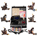 Damascus Hand-made 6 Tattoo Machines Kit with Superior LED Power Supply