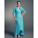 A-line Straps Asymmetrical Satin Chiffon Mother of the Bride Dress With A Wrap