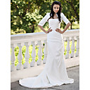 Trumpet / Mermaid Court Train Taffeta Side-Draped Wedding Dress With Wrap