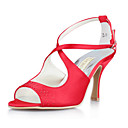 Satin Upper Peep-toes High Heel Wedding Bridal Shoes