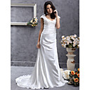 Sheath/ Column Scoop Sweep/ Brush Train Elastic Silk-like Satin Wedding Dress