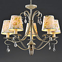 Rural Style Iron and Crystal Chandelier with 5 Lights (Fabric Shade)