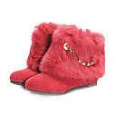 Suede Upper Low Heels Ankle Boot With Faux Rabbit Fur Fashion Shoe(0987-XA3731)