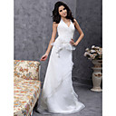 Sheath/Column Halter V-neck Sweep/Brush Train Organza Wedding Dress