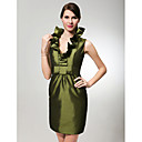 Sheath/ Column V-neck Short/ Mini Taffeta Bridesmaid Dress