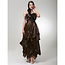 Chiffon Taffeta A-line Strapless Tea-length Evening Dress