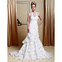 Trumpet/ Mermaid Halter Court Train Taffeta Tiered Wedding Dress