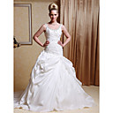 Ball Gown Scoop Court Train Taffeta Pick-up Wedding Dress with Split Front