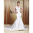 Trumpet/Mermaid Halter Court Train Elastic Woven Satin Wedding Dress