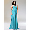 Sheath/ Column Halter Floor-length Chiffon Matte Satin Evening Dress