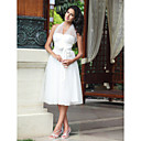  Empire Halter Knee-length Tulle Wedding Dress