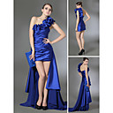Clearance! Sheath/ Column One Shoulder Short/ Mini Stretch Satin Over Chiffon Cocktail Dress with Removable Train