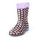 Rubber Upper Flat Heel Kids Mid-calf Rain Boots With Polka Dot Outdoor Shoes