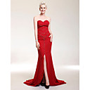 Sheath/Column Sweetheart Sweep/Brush Train Chiffon Over Stretch Satin Evening/Prom Dress