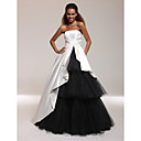 Satin Tulle A-line Strapless Floor-length Evening/ Prom Dress inspired by Isabella Ragonese