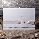 Floral Folded Wedding Invitation With Ribbon (Set of 50)