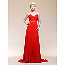 Chiffon A-line Spaghetti Straps Sweep/ Brush Train Evening Dress inspired by Selena Gomez
