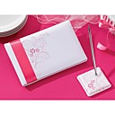 Pink Flora Wedding Guest Book And Pen Set In Satin
