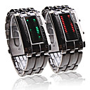 Couple Style Double Row Arrayed LED Wrist Watches (Men's Green, Women's Red)
