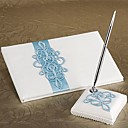 Teal Scroll Wedding Guest Book And Pen Set In White Satin