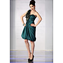 A-line One Shoulder Knee-length Elastic Silk-like Satin Tulle Cocktail Dress