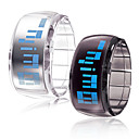 Pair of Futuristic Blue LED Wrist Watch - Black & White