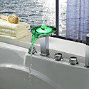 Color Changing LED Tub Faucet with Hand Shower (Chrome Finish)
