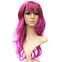 Capless Long 100% Kasi Fiber Pink Curly Costume Party Wig