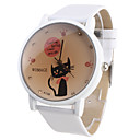 Women's and Girl's Cartoon Cat Quartz Watch (White)