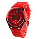 Chrysanthemum Shaped Metal Dial Design Quartz Unisex Wrist Watch - Red