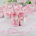 Pink And White Woven Favor Holder With Bow (Set of 12)