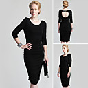 TS Black Backless Long Sleeve Gathered Hem Dress