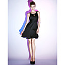 A-line Scoop Knee-length Satin Chiffon Cocktail Dress