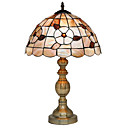 60W Tiffany Style Table Light with Floral Pattern