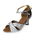 High Quality Sparkling Glitter/Leatherette Upper Women Latin Dance Shoes Ballroom Practice Shoes