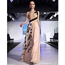 Clearance!Sheath/Column One Shoulder Floor-length Chiffon With Appliques And Beading Evening Dress