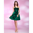 A-line Princess Strapless Knee-length Satin Cocktail Dress