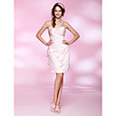 Sheath/ Column One Shoulder Knee-length Satin Cocktail Dress