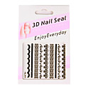 6 stickers nail art style franais blanc / noir / broche en dentelle k