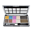 8 Colors Eye Shadow and 2 Colors Eyebrow Powder Palette with Free Brush