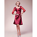 A-line Spaghetti Straps Knee-length Stretch Satin Mother of the Bride Dress With A Wrap