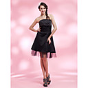 A-line Strapless Knee-length Satin Cocktail Dress