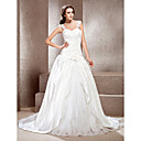 A-line Off-the-shoulder Chapel Train Satin Lace Wedding Dress
