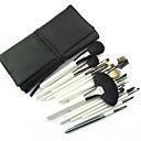 White Handle With Black Pouch Wool Brush Set(18 Pcs)