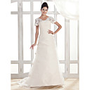 A-line V-neck Court Train Organza Wedding Dress