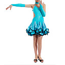 Sky Blue Children's Spandex With Ruffles/Sequins Latin Dance Performance Dress