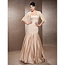 Trumpet/Mermaid Strapless Floor-length Satin And Lace Wedding Dress With A Wrap