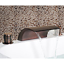 Oil Rubbed Bronze Waterfall Widespread Bathroom Sink Faucet