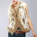 Women's Genuine Rabbit With Raccoon Fur Vest
