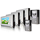 Four 7 Inch Monitor  Color Video Door Phone System (2 Alloy Weatherproof Cover Camera)